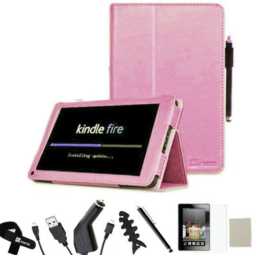 Kindle Fire Folio Leather Case/Screen Protector/Car Charger/USB Cable