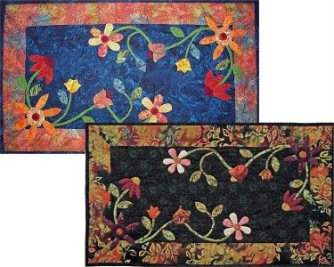FLORAL QUILTED TABLE RUNNER Pattern with Appliques
