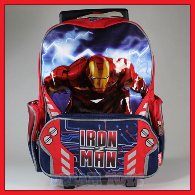 16 Iron Man 3 Rolling Backpack Roller/Bag/Wheeled/Boys