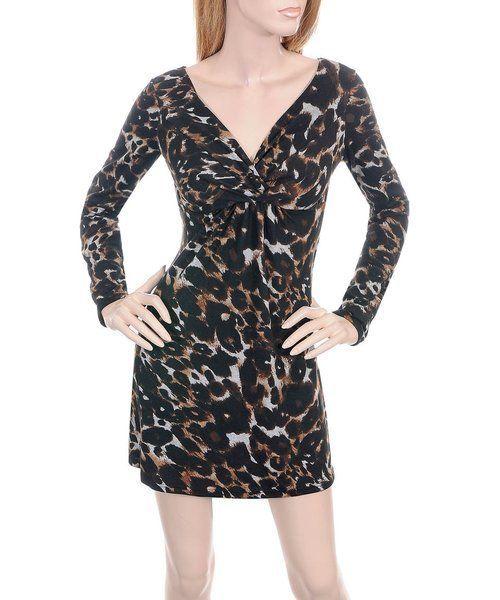 D93 Black/Brown Stretch Leopard Print Dress S/Small