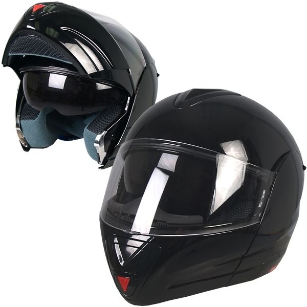 Gloss Black Convertible Full Face DOT Motorcycle Helmet 4 Sizes