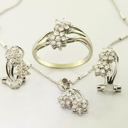 Flower 14K White Gold Diamond Earring Ring Necklace Set