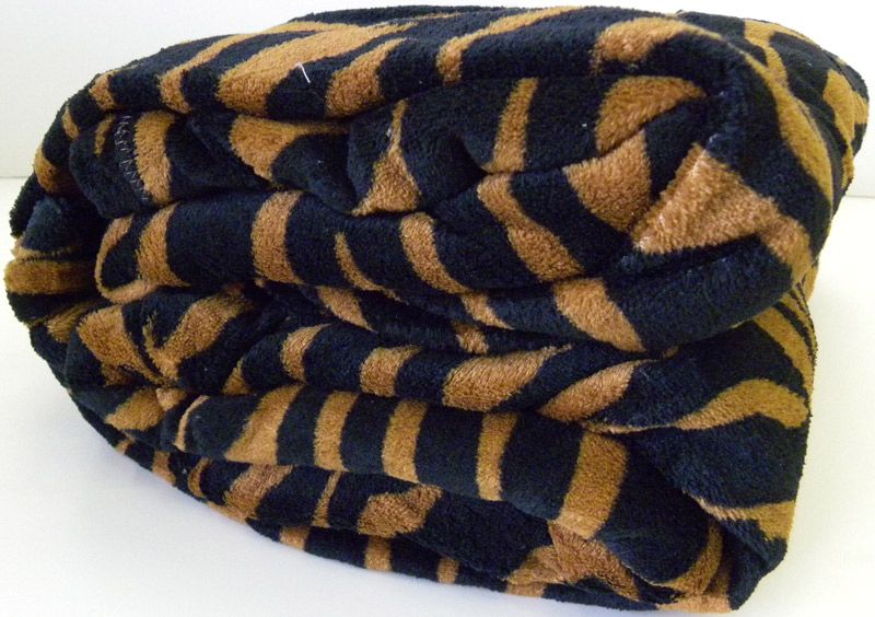 Super Soft Brown Black Zebra Print Microfiber Blanket Throw Queen Size